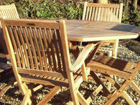 4 Seater 1m Octagonal Folding Teak Set with Folding Chairs & Armchairs