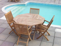 4 Seater 1m Octagonal Folding Teak Set with Folding Armchairs