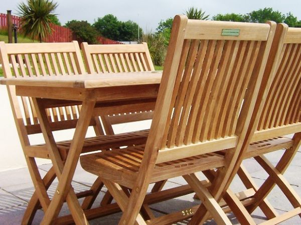 4 Seater 1.2m Rectangular Folding Teak Set with Folding Chairs