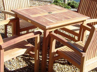 4 Seater 80cm Square Fixed Teak Set with Stacking Armchairs