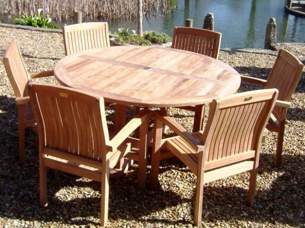 6 Seater 1.5m Round Pedestal Teak Set with Stacking Armchairs