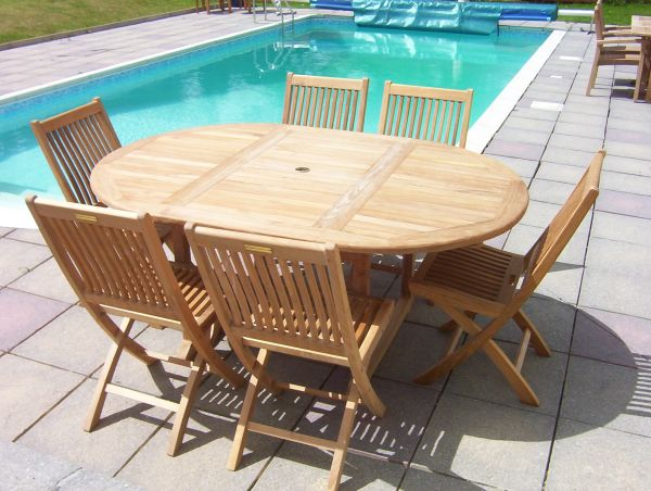 6 Seater 1.2m Round Extending Teak Set with Folding Chairs