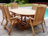 6 Seater 1.2m Round Extending Teak Set with Reclining Armchairs