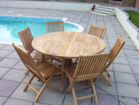 6 Seater 1.4m Round Gate-leg Teak Set with Folding Chairs