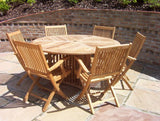 6 Seater 1.5m Round 'Radar' Teak Set with Folding Armchairs