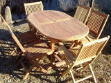 6 Seater 1.6m Oval Pedestal Teak Set with Folding Chairs & Armchairs
