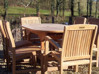 6 Seater 1.6m Oval Pedestal Teak Set with Dining Chairs & Stacking Armchairs