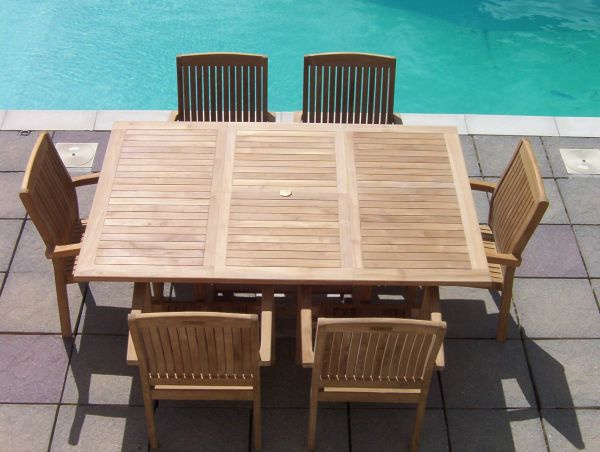 6 Seater 1.2m Square Extending Teak Set with Stacking Armchairs