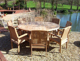 8 Seater 1.8m Round Pedestal Teak Set with Stacking Armchairs