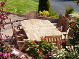 8 Seater 1.9m Oval Double Extending Teak Set with Reclining Armchairs
