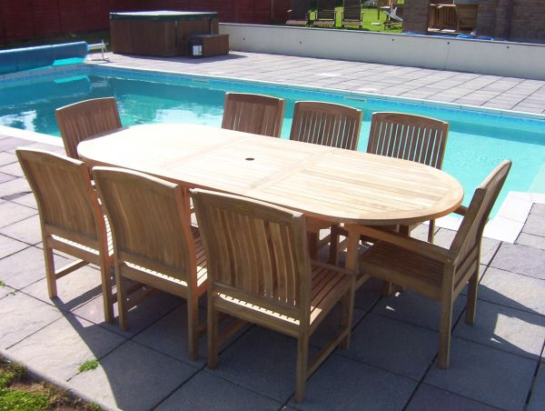 8 Seater 1.8m Oval Extending Teak Set with Dining Chairs & Stacking Armchairs