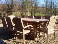 8 Seater 1.8m Rectangular Extending Teak Set with Stacking Armchairs