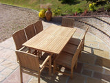 8 Seater 1.9m Rectangular Pedestal Teak Set with Dining Chairs & Stacking Armchairs