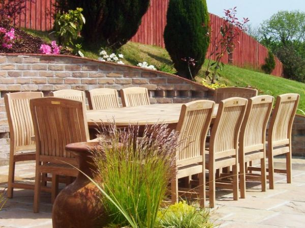 10 Seater 1.9m Oval Double Extending Teak Set with Dining Chairs & Stacking Armchairs