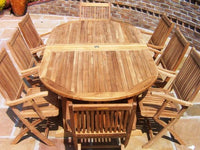 10 Seater 1.9m Oval Double Extending Teak Set with Folding Armchairs