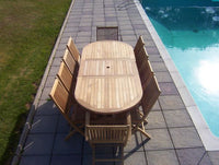 10 Seater 1.8m Oval Extending Teak Set with Folding Chairs & Armchairs