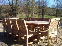 10 Seater 1.8m Rectangular Extending Teak Set with Dining Chairs & Stacking Armchairs