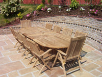 10 Seater 1.9m Oval Double Extending Teak Set with Folding Armchairs & Recliners