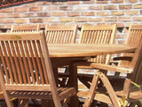 12 Seater 2.4m Oval Double Extending Teak Set with Folding Chairs & Recliners