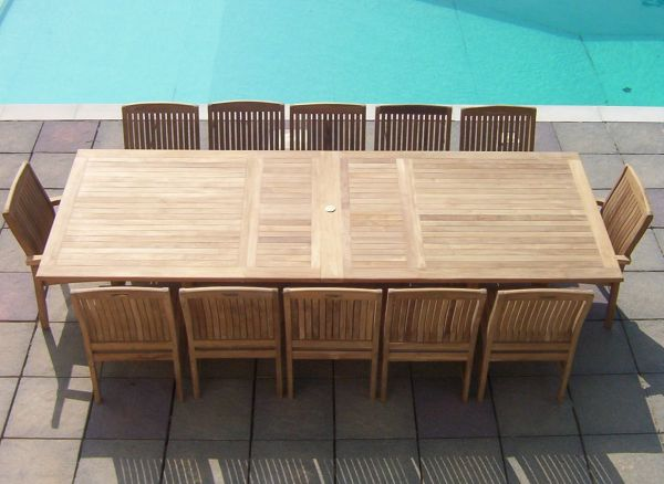 12 Seater 2.4m Rectangular Double Extending Teak Set with Dining Chairs & Stacking Chairs