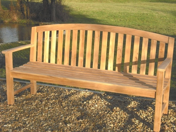 Contemporary Teak Curved Bench