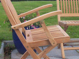 4 Seater 1.2m Round Gate-leg Teak Set with Folding Armchairs