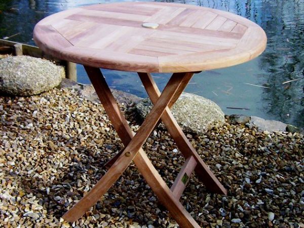 Round Folding 80cm Teak Garden Table