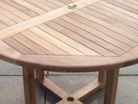 4 Seater 1.2m Round Pedestal Teak Set with Stacking Armchairs