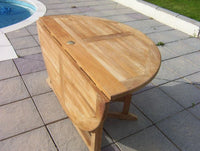 Round Gate-leg 1.4m Teak Garden Table