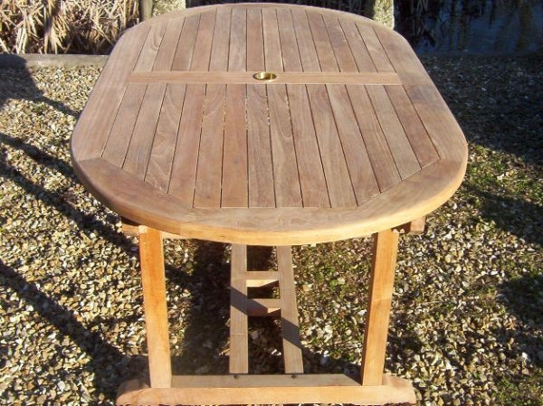 Oval Pedestal 1.6m Teak Garden Table