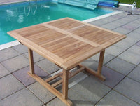 8 Seater 1.2m Square Extending Teak Set with Dining Chairs & Stacking Armchairs