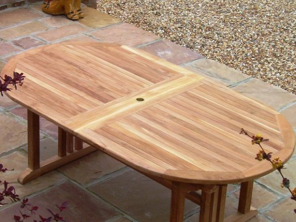 Oval Pedestal 1.9m Teak Garden Table