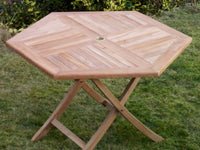 6 Seater 1.2m Hexagonal Folding Teak Set with Folding Chairs