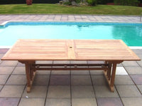 14 Seater 2.4m Rectangular Double Extending Teak Set with Folding Chairs & Recliners