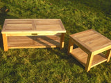 Square 45cm Teak Garden Coffee Table With Shelf