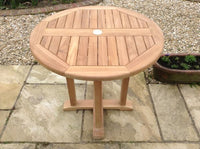 Round Pedestal 80cm Teak Garden Table