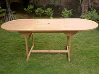 Oval Extending 1.5m Teak Garden Table