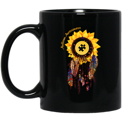 AGR Autism Awareness Dream Catcher Sunflower Mugs