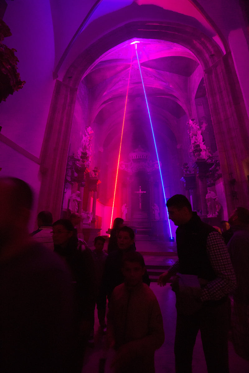 Laser art in church - red and blue lasers
