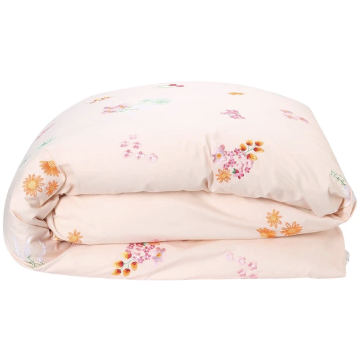 Wild Flower Embroidered Cotton Quilt Cover - Single