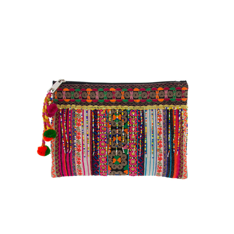 Bohemian Beaded Fringe Embellished Fabric Clutch