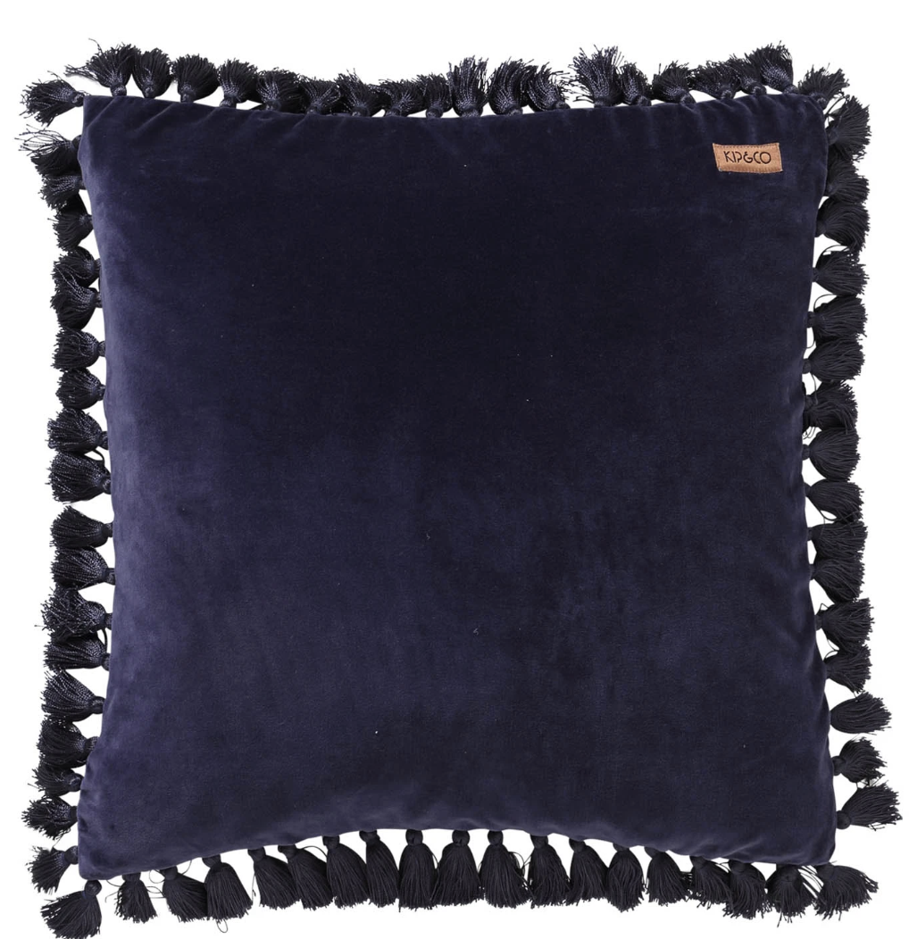 Navy Velvet Tassel Cushion