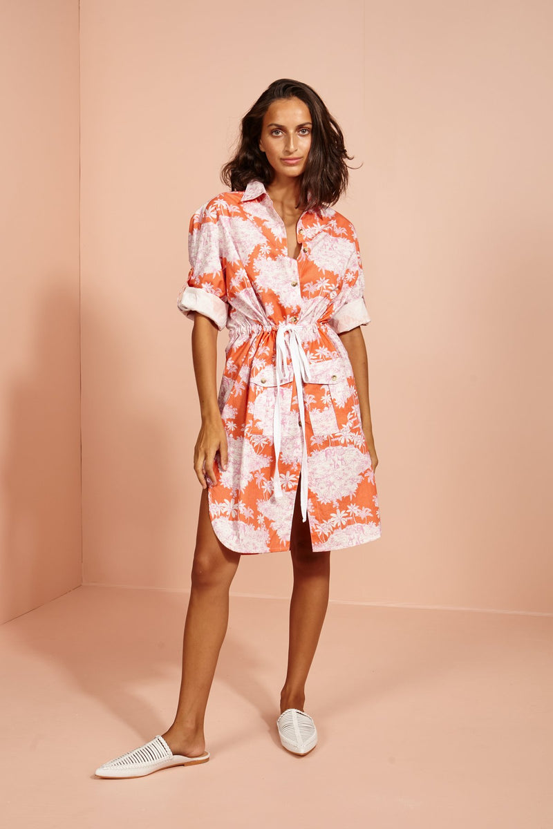 Coconut Lagoon Shirt Dress-Toile-orange/pink