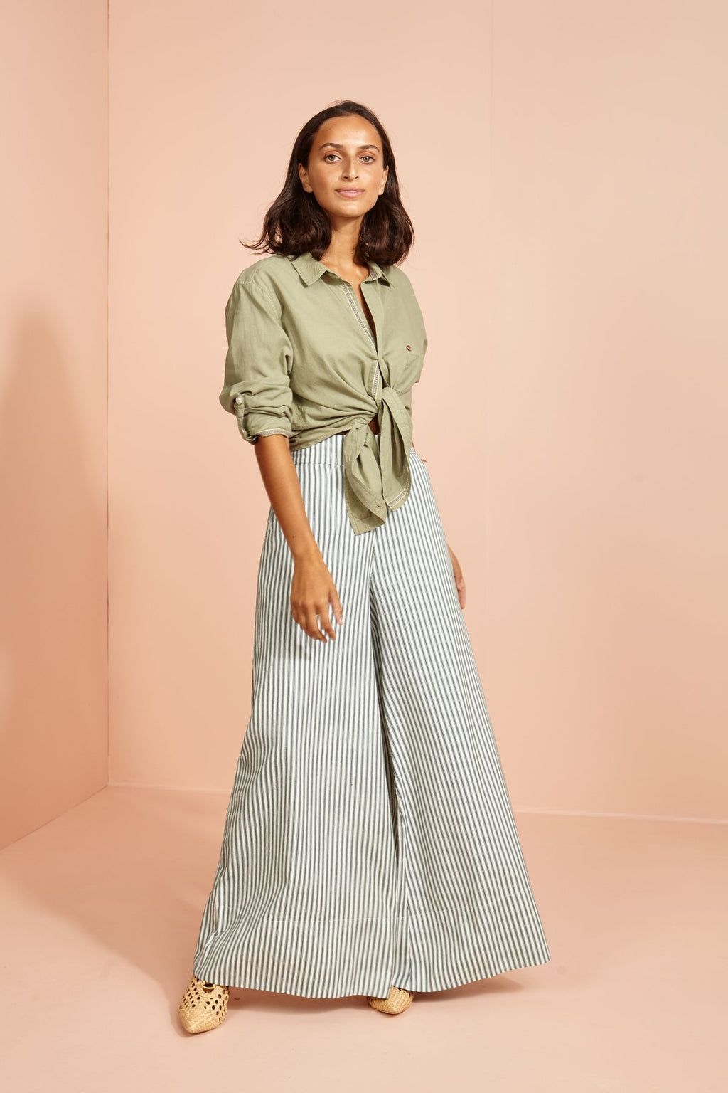 Cricket Wide Leg Pant -green stripe