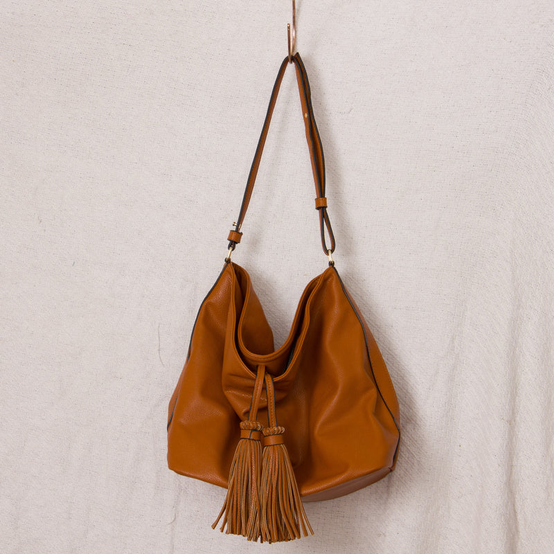 Tan Double Tassles Slouchy Shoulder Bag