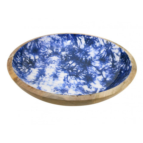 Blue and White Wood Platter (3497)