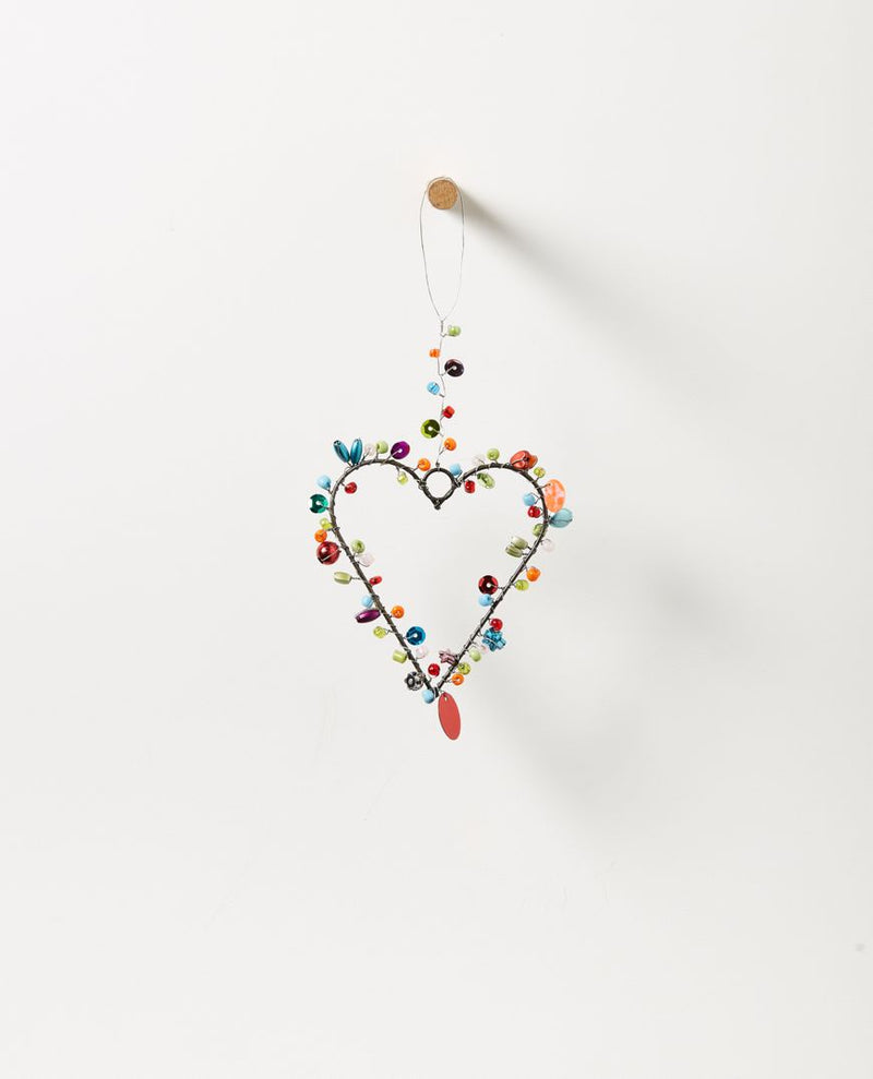 Starlight Hanging Beaded Heart