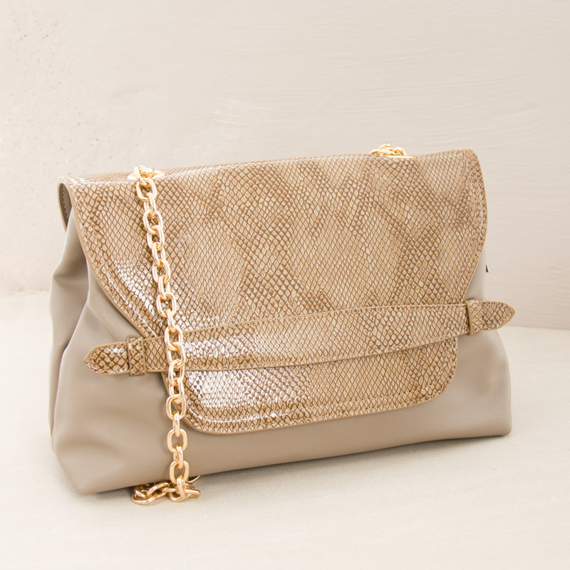 Reptile Belted Chain Handle Handbag