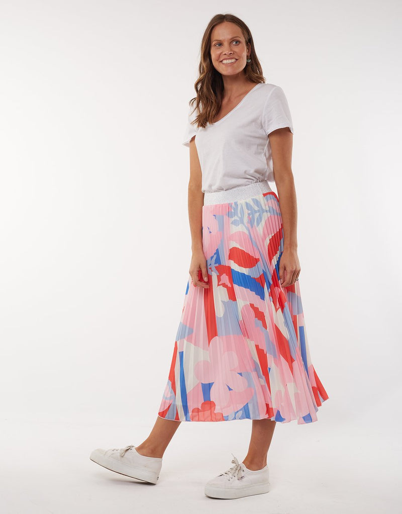 Infinity Pleat Skirt-Pink/blue