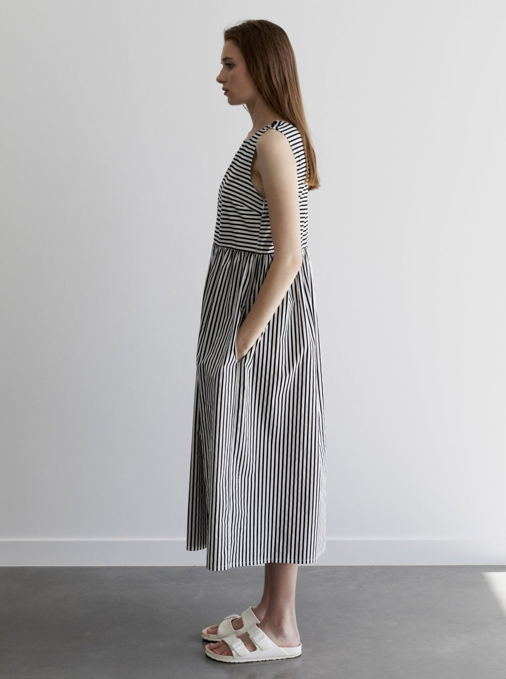 Elodie Dress-Black & White Stripe